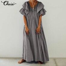 Plus Size Women Vintage Long Shirt Dress 2019 Celmia Casual V-neck Ruffle Sleeve Party Maxi Dress Pleated Summer Beach Vestidos