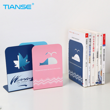 TIANSE 1 pair candy color cartoon bookshelf stainless steel bookend book shelf document holder stand school office supplies