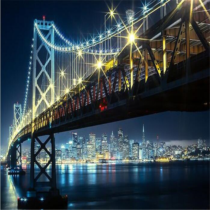 Hd 1600x900 Wallpaper: Beibehang 3d Large Wall Mural Wallpaper HD Bridge At Night