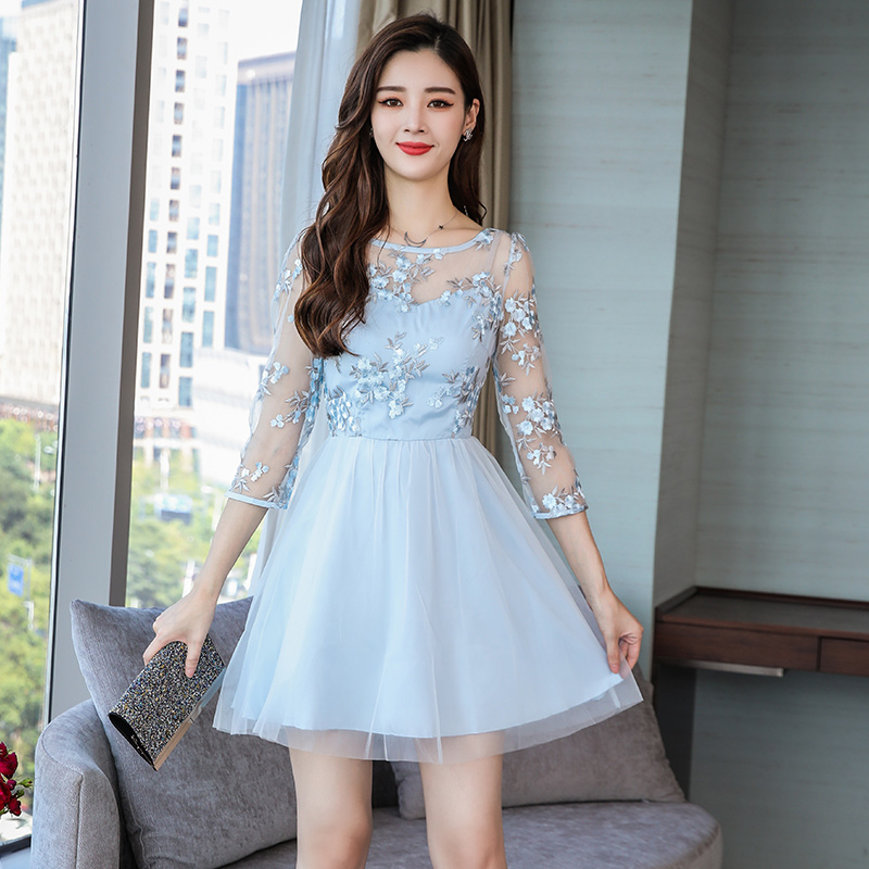 2018 New Autumn Women Mini dress Slim Mesh Within Render A Word Dresses Light Blue 5846