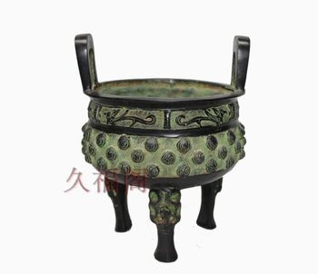 China of art collection bronze carving Double Phoenix Incense burner