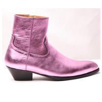 Hot Autumn Winter Shoes Men Leather Ankle Boots Side Zip Med Square Heels Men Casual Boots Round Toe Knight Boots Design S
