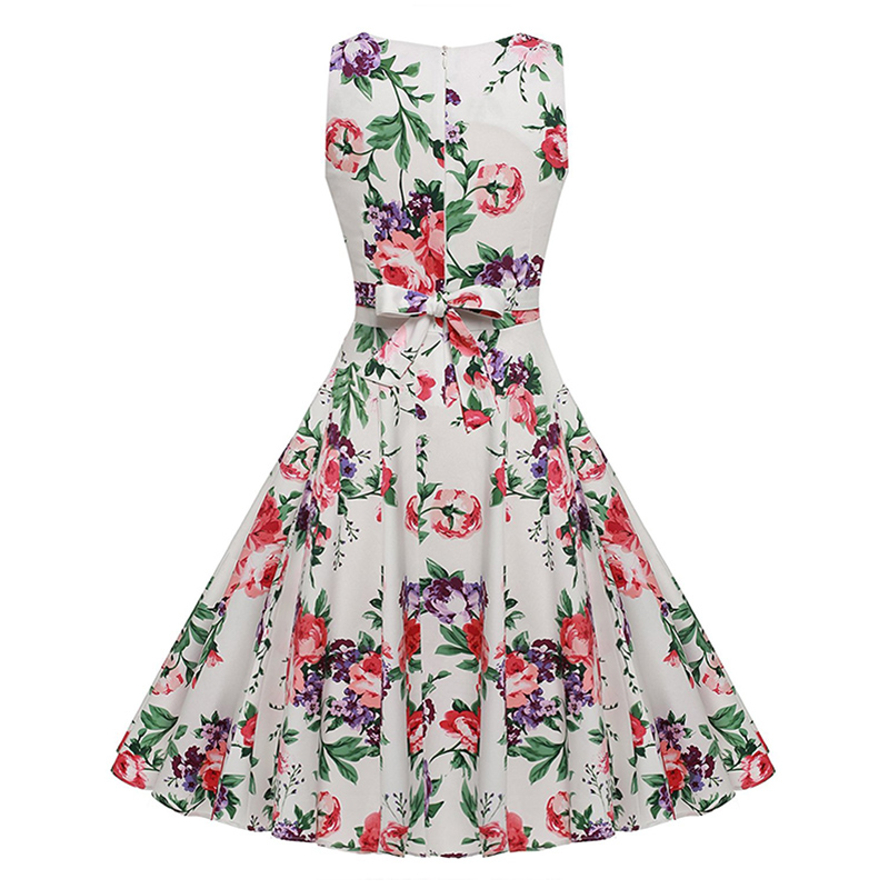 Kostlish Cotton Summer Dress Women 2017 Sleeveless Tunic 50s Vintage Dress Belt Elegant Print Rockabilly Party Dresses Sundress (65)