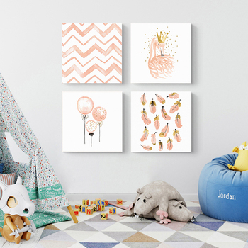 Nordic Kawaii Pink Swan, Princess, Balloon, Feather Canvas - Nursery Decoration