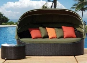 2017 Newest Outdoor Furniture Wicker Bannis Daybeds With Canopy