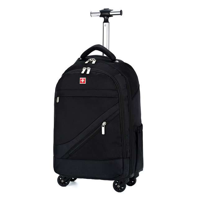 Swiss Brand Suitcase With Wheels Trolley Bag Oxford Backpack Dual Use 16 18 Inch