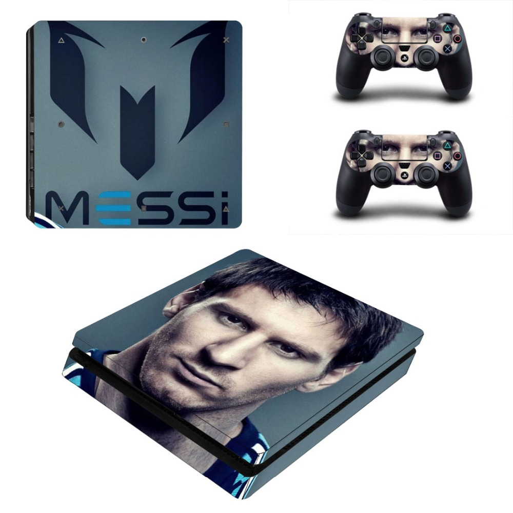 Lionel Messi Football PS4 Slim Skin Sticker Decal Vinyl for Sony Playstation 4 Console and 2 Controllers PS4 Slim Skin Sticker in Stickers from Consumer Electronics