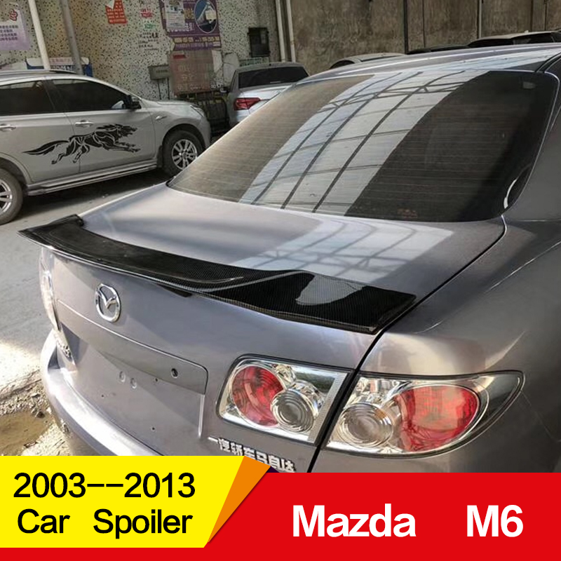 Use for old <font><b>Mazda</b></font> <font><b>6</b></font> <font><b>spoiler</b></font> 2003 04 05 06 07 08 09 10 11 12 13year glossy carbon fiber/FRP rear wing R style <font><b>spoiler</b></font> accessories image