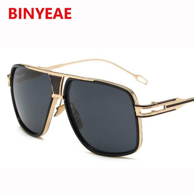 Hommes de mode carré lunettes de soleil miroir shades big métal cadre louis vintage  marque lunettes 8f03de10c78f