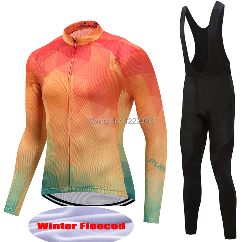FUALRNY Pro Flier Winter Thermal Fleece Cycling Jersey Set 2018 Long Sleeve Bicycle Clothing MTB Bike Wear Maillot Ropa Ciclismo