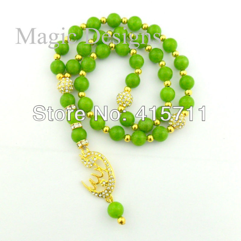 YH-PB23 5pcs/lot Semi-Presious Stone Islam Prayer Beads Muslim Allah Misbaha Sibha 33 Beads 7 Color Options
