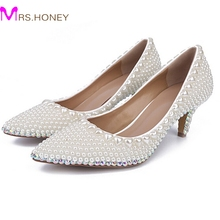 Kitten Heel Shoes Wedding Handmade Pearl Wedding Shoes Ivory Wedding Party Shoes Comfortable Prom Party Dancing