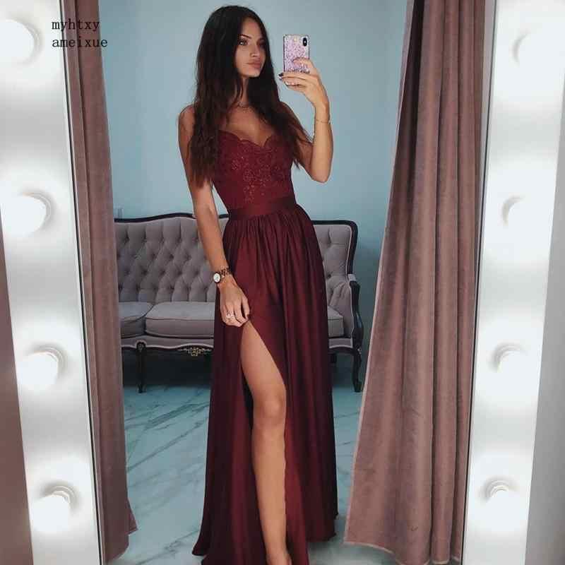 2019 Sexy V-Neck Borgogna Abiti Da Sera Lunghi Backless Semplice Abitudine Fare Più Il Formato Abiti Da Sera per Le Donne Robe De Soiree
