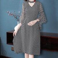 2018NEW элегантный Dot шелковые платья Для женщин летний топ качество печати уличная леди до колена Длина вечерние платье v образным вырезом бес