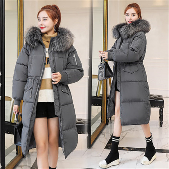 f5fd21eff 2018 Cotton Padded Jackets Winter Parkas Large Fur Collar Women Hooded Coat  Wadded Warm Overcoats Snow wear Chaqueta Mujer A1534-in Parkas from ...