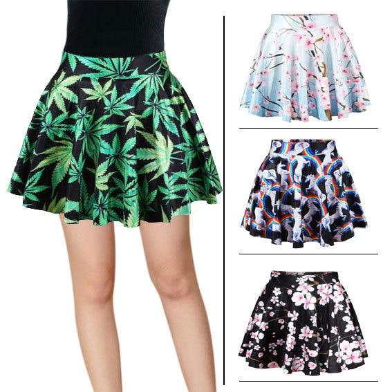 BACHASH 2018 Floral Print Mini Skirt High Waist Tutu Pleated Skirt ... 294b1d895180