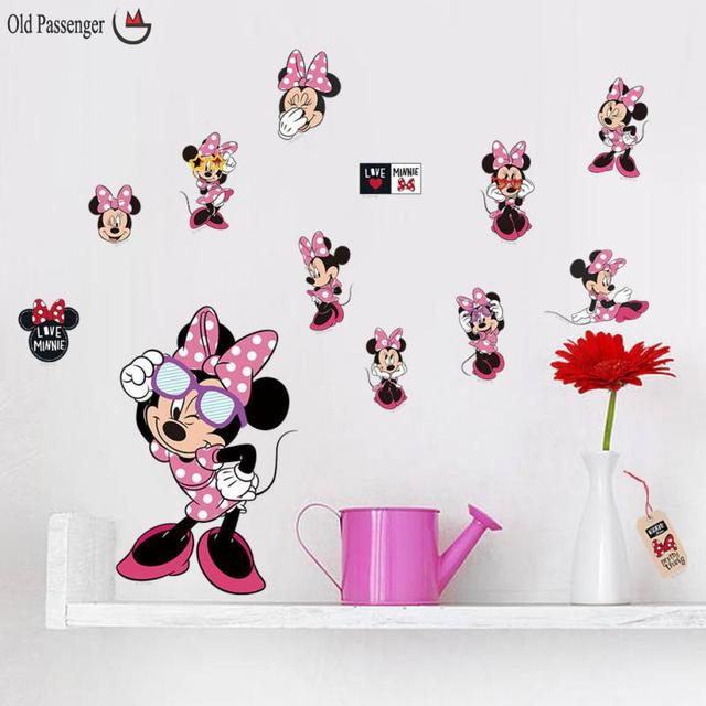 Newest Diy Cartoon Mickey Minnie Mouse Animnals Home Decal Wall Sticker For  Kids Room Amusement Decor
