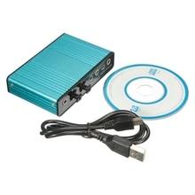Внешняя Звуковая Карта USB 6 6-канальный 5.1 Аудио S/PDIF Оптический Звуковая Карта Для ПК Светло-голубой