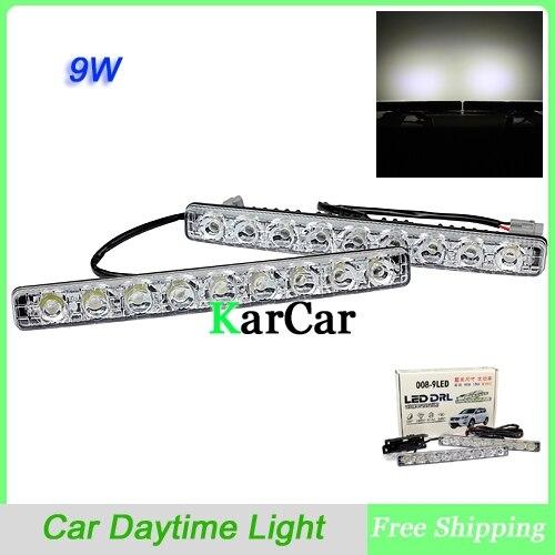 9 Вт Универсальный Водонепроницаемый света 9 СИД наивысшей мощности супер яркий автомобиль дневные ходовые огни, Автомобильная фара Белый 12V DRL лампы