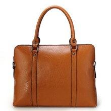 цена на 14 Laptop Bag 100% Genuine Real Leather Fashion Women Handbag Ladies OL/Business Shoulder Tote Messenger Bag Purse Satchel Black