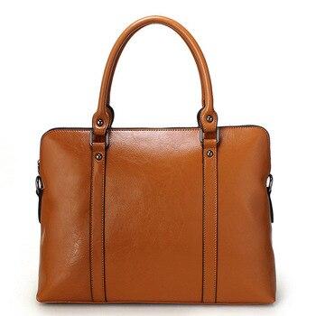 Maletin Mujer 14 Laptop Bag 100% Genuine Leather Women Handbag Ladies Business Shoulder Tote Messenger Bag Purse Satchel Black
