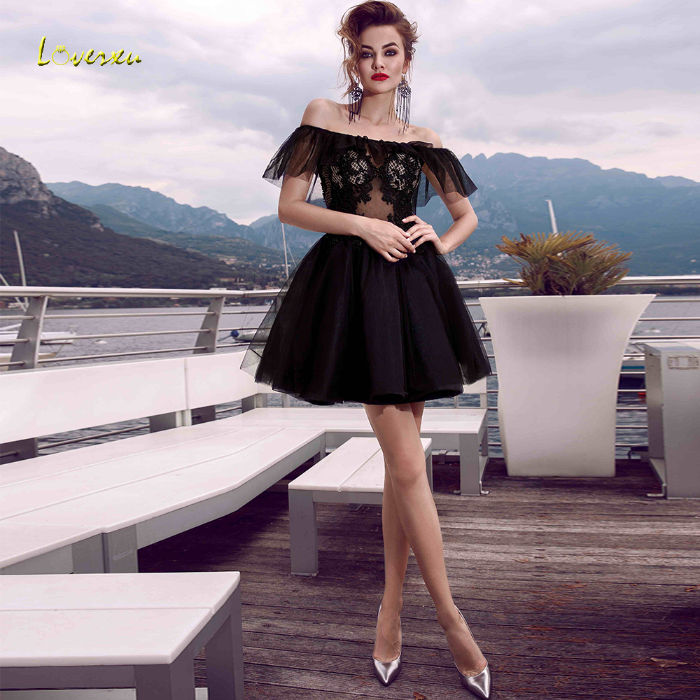 Loverxu Boat Neck Strapless A Line   Cocktail     Dress   Dreamy Applique Beading Off The Shoulder Backless Mini   Dresses   Party Plus Size