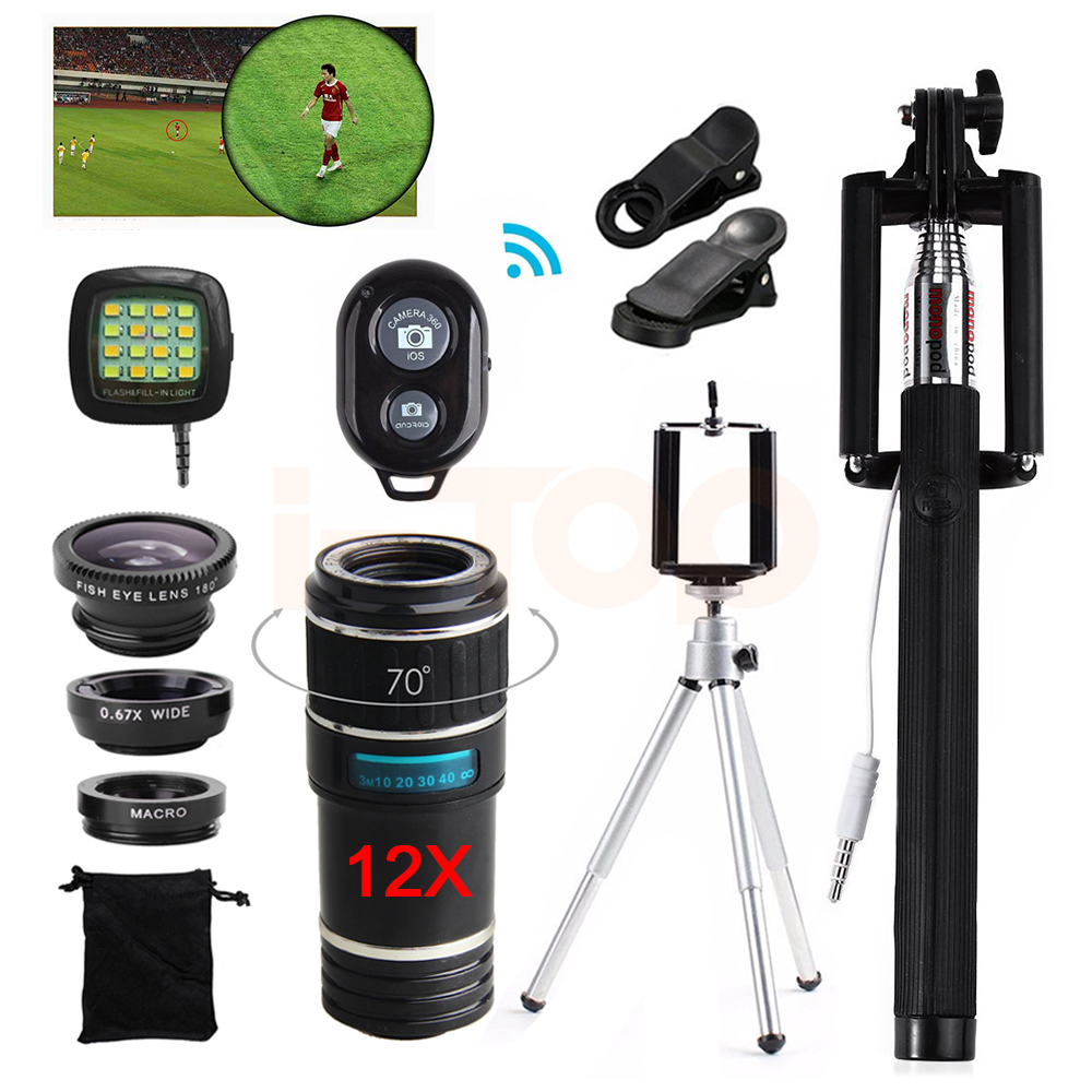 2017 12X Telephoto Zoom Lens Telescope Fisheye Macro Wide Angle lentes Clips Tripod For Camera Phone Lenses For Samsung S6 S7 S8