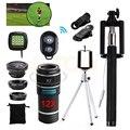 2017 Telescopio 12X Lente Zoom Telefoto lentes de ojo de Pez Macro Gran Angular clips de lentes para samsung s6 s7 trípode para la cámara del teléfono lg