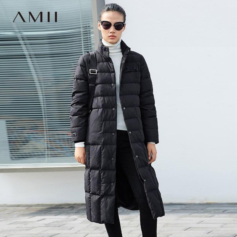 Amii Minimalist 2018 Winter Loose 90% White Duck Down Coat Single Breasted Women Pocket Jacket Coats