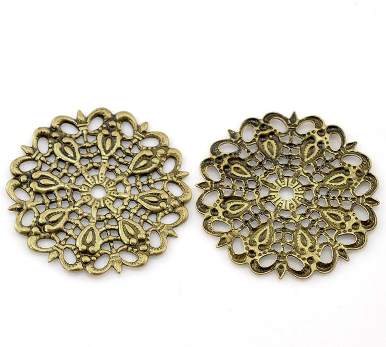 DoreenBeads Copper Embellishments Findings Flower Antique Bronze Flower Hollow Pattern 25mm(1