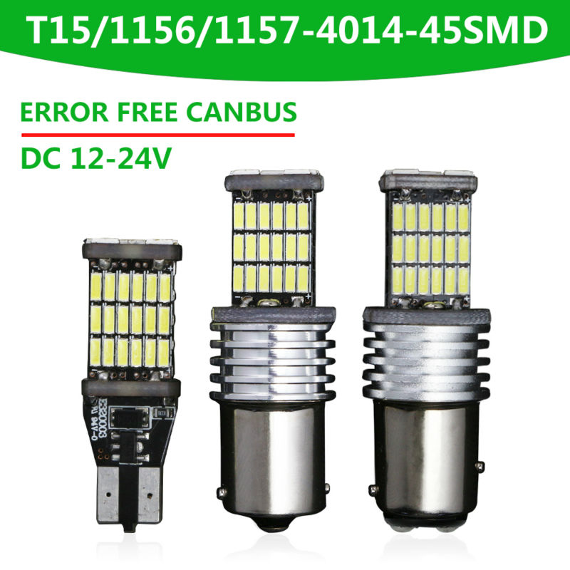 2x T15/T10 w5w led New Canbus Car LED 7.5w 1156 ba15s 1157 LED Light Sourcing W16W 45SMD NO ERROR Backup light rear Lamp parking