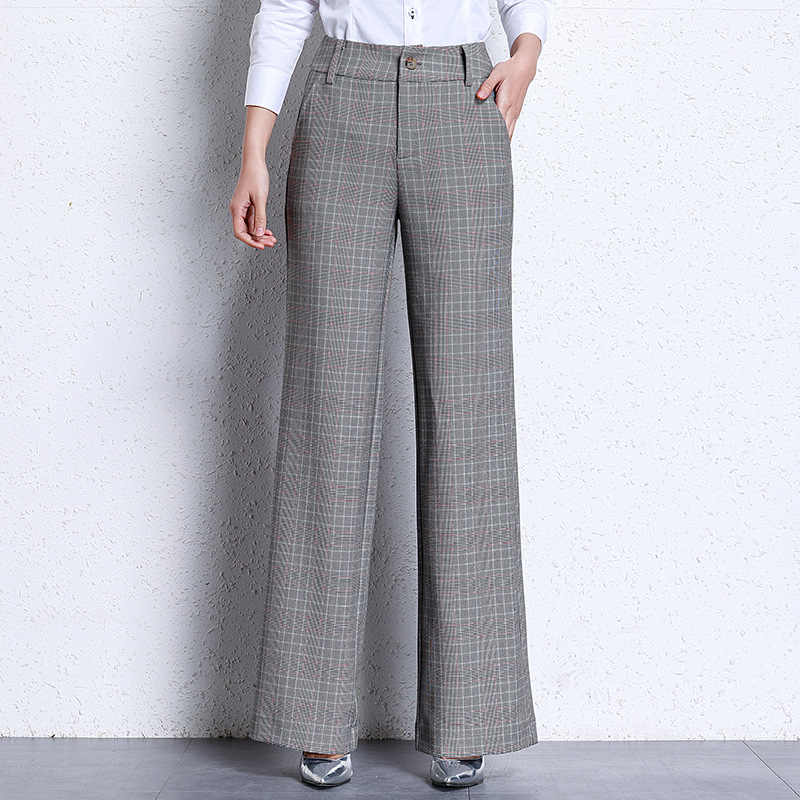 2019 New Women's Plaid Flare Pants Grey Wide Leg OL Korean Style High Waist Pattern Trousers Business Fashion Office Pants S 4XL