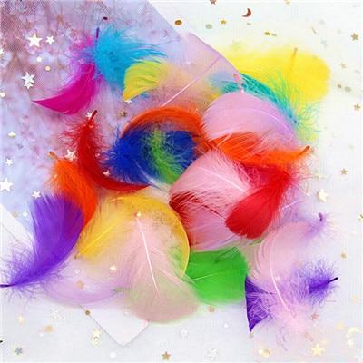 Натуральные гусиные перья 4-8 см, маленькие плавающие цветные перья лебедя, Плюм для рукоделия, свадебные украшения, украшения для дома, 100 шт - Цвет: mix 100pcs