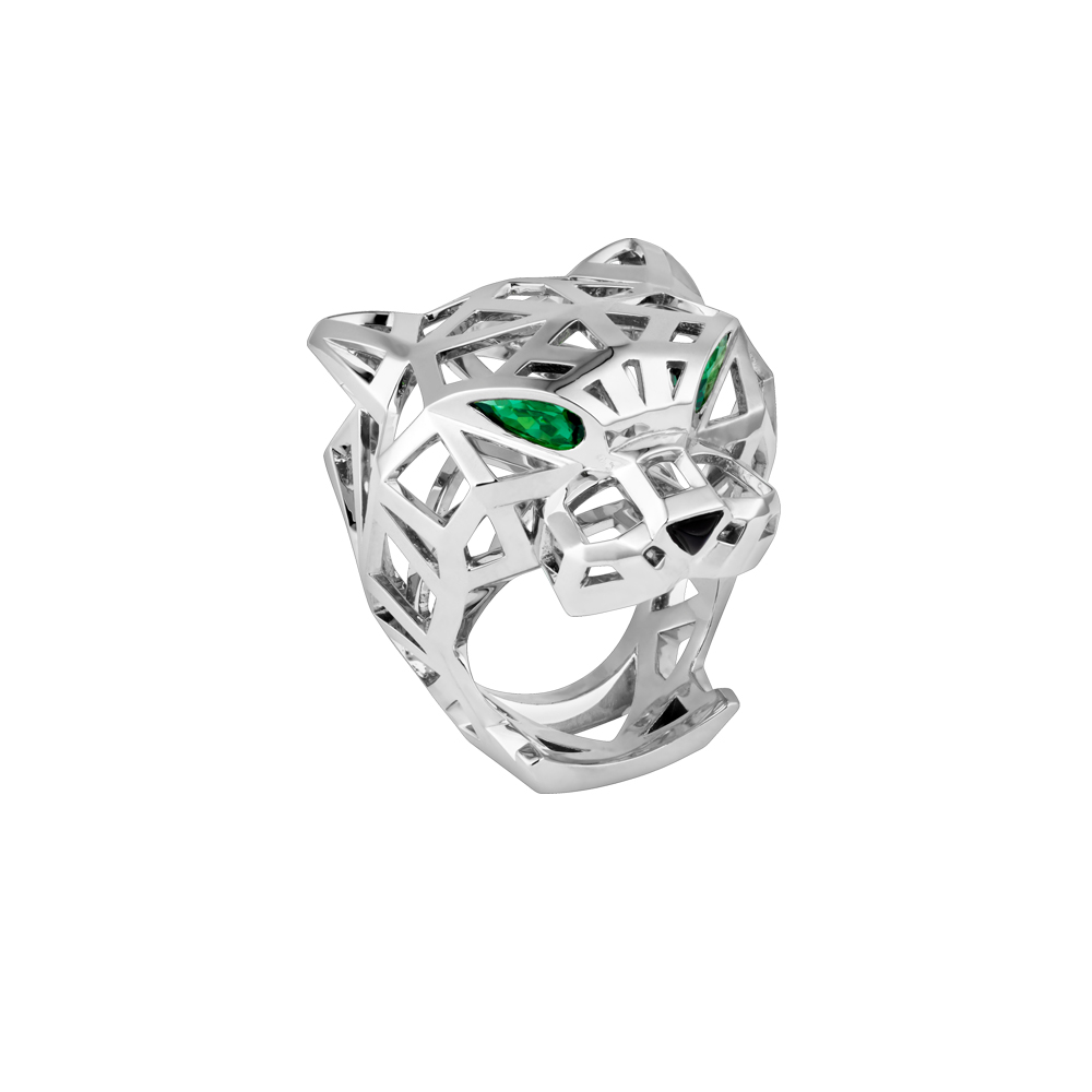 Exquisite Tiger Leopard Head <font><b>Love</b></font> <font><b>Rings</b></font> Fashion Jewelry Hollow Green Eyed Copper Leopard Head Silver Open <font><b>Ring</b></font> Luxury Design image