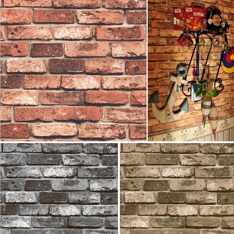 Haokhome pvc vinyl vintage shabby brick stone 3d wallpaper for 3d stone wallpaper for living room