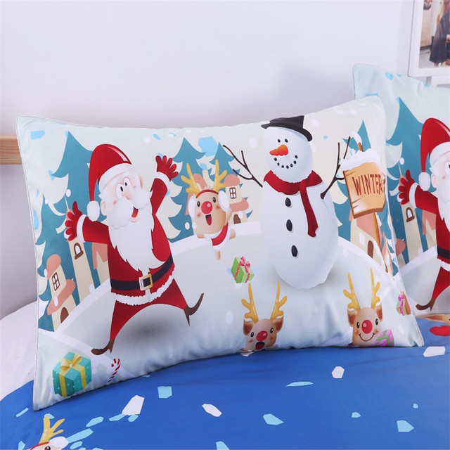 BeddingOutlet Christmas Bedding Set Bright Duvet Cover with Pillowcases Santa Claus With Snowman Quilt Cover Multi SIZE Hot Sale