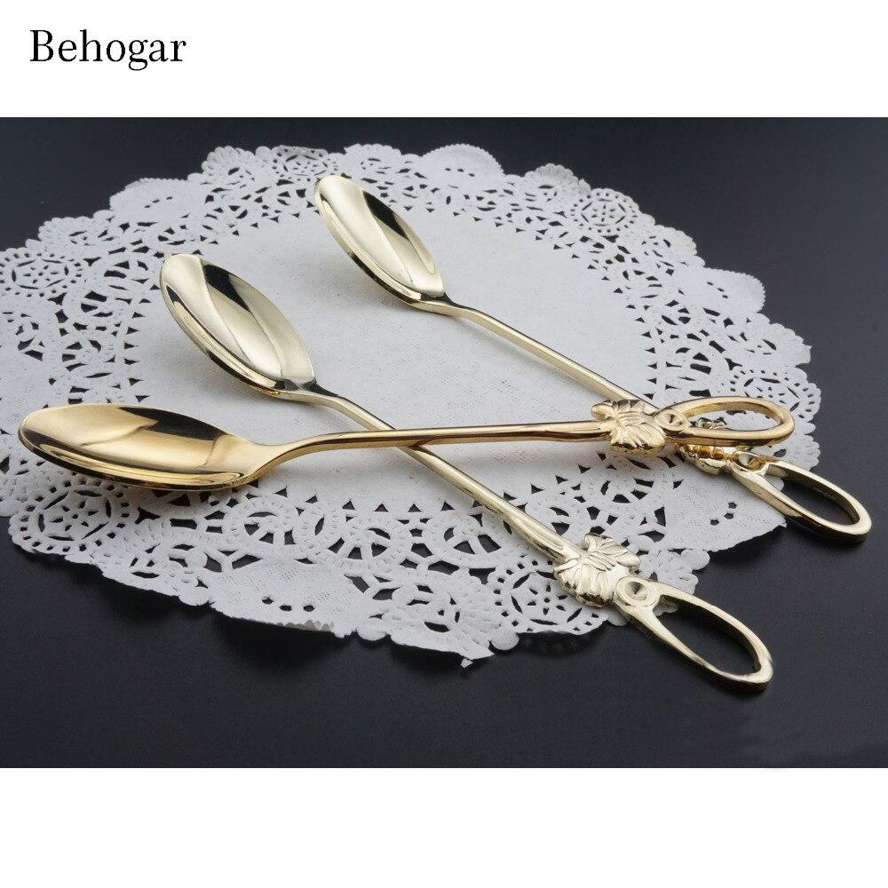 ✅Behogar 4 unids cuchara de acero inoxidable y Tenedores Conjunto 2 ...