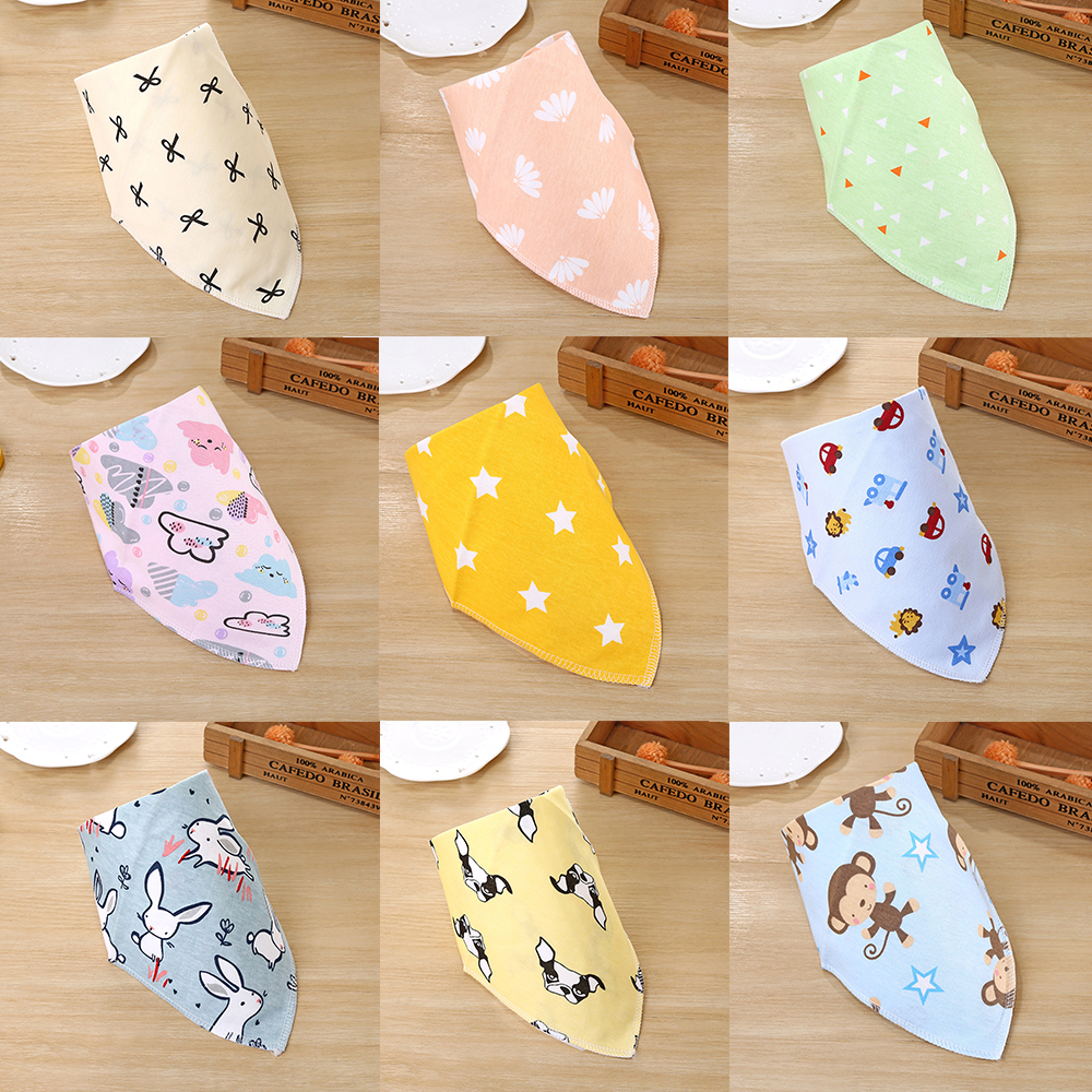 2019 Baby Bibs For Boy&Girl Bib Burp Cloth Print Triangle Cotton Baby Scarf Meal Collar Burp Baby Accessories Dropshipping