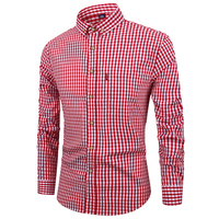 Name Brand Vintage Men's Dress Shirts Stripe 4XL Plus Size Breathable Cotton Long Sleeve Slim Fit Plaid Mens Shirt Casual A714