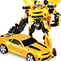 Nueva genuino 45 cm juguetes transformación optimus prime bumblebee robots modelo movie 4 diamond juguetes clásicos figuras de acción robot coche