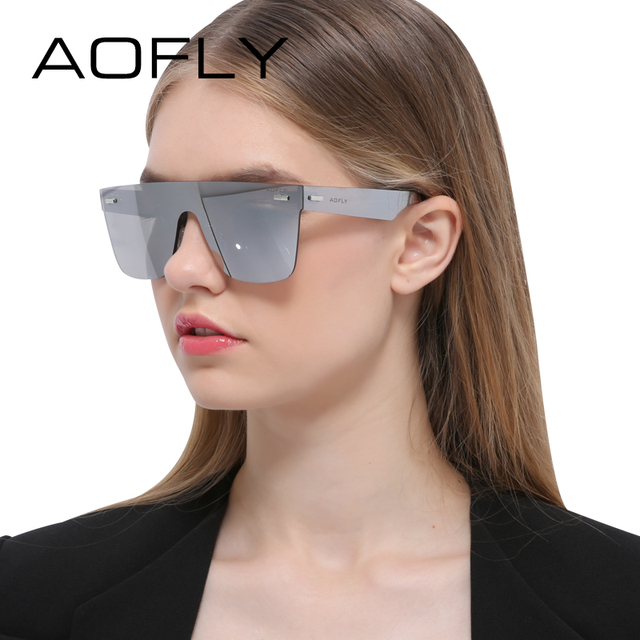 AOFLY Sunglasses Men Women Luxury Brand Rimless Fashion Sunglasses Square Mirror Sun Glasses High Quality Shades Glasses UV400