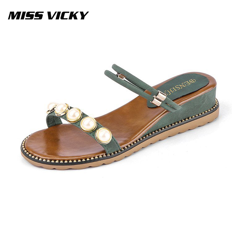 MISS VICKY 2019 New Summer Women's Sandals Student Sandals Pearl Rome Flat Casual Shoes