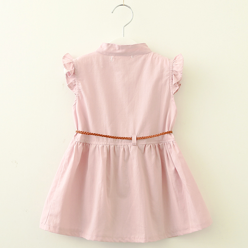 Keelorn Girl Summer Dress 2018 New Pink Knit Embroidery Flower Princess Child Summer Dress Baby Girl Dress