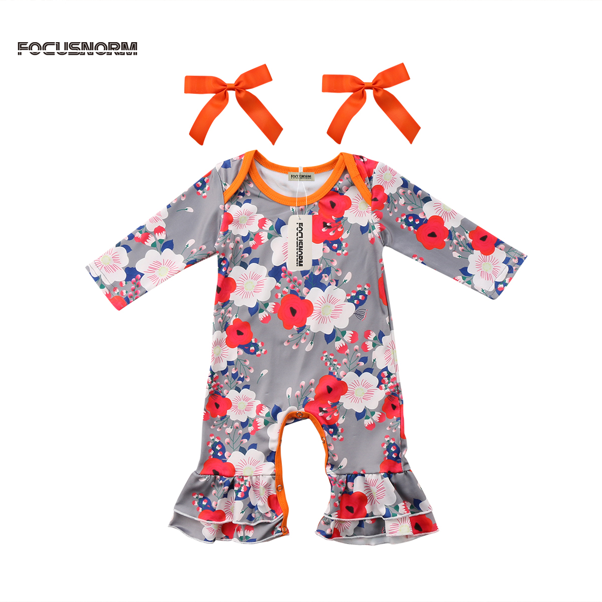 Newborn Baby Girls Floral Ruffle Long Sleeves Romper Jumpsuit + Bow Hairwear Clothes Outfits 2Pcs Set