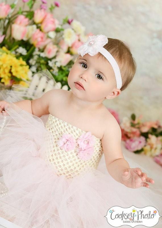 vory and Light Pink Flower Girl Birthday Tutu Dress