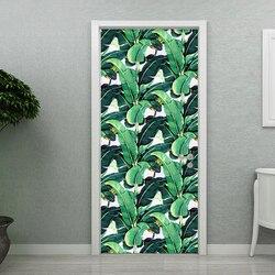 3D naklejki nowoczesny tropikalny las deszczowy liść tapety salon badania drzwi naklejki do dekoracji wnętrz winylu wodoodporna 3D Mural w Naklejki na drzwi od Dom i ogród na