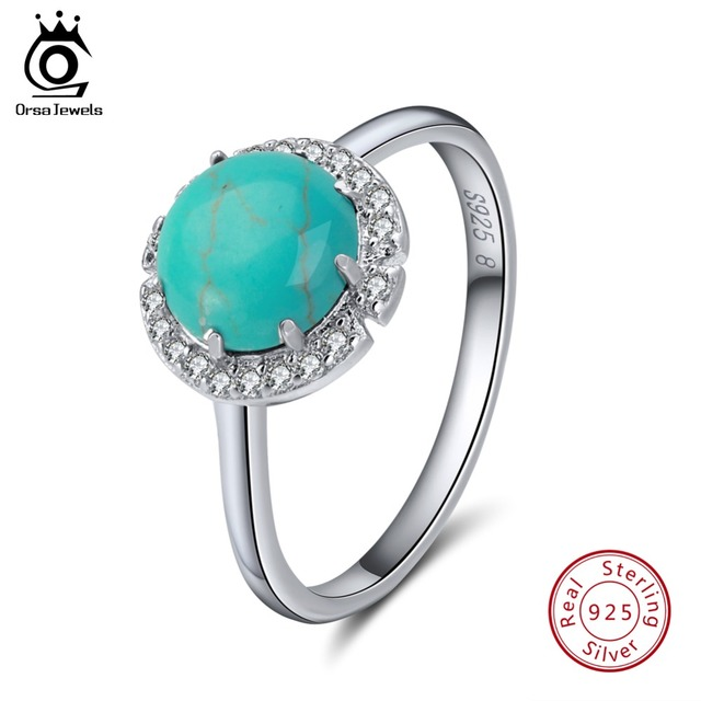 ORSA JEWELS Genuine 925 Sterling Silver Rings For Female Turquoises Pave Setting