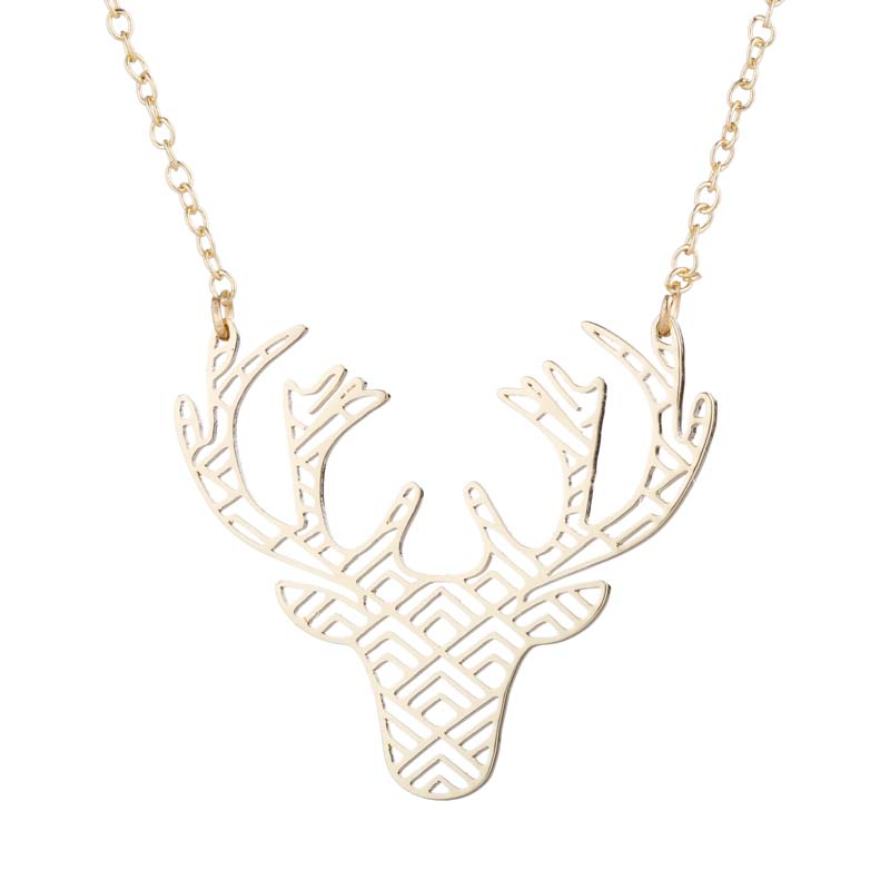 deer necklace animal necklace nature necklace geometric necklace deer antler necklace