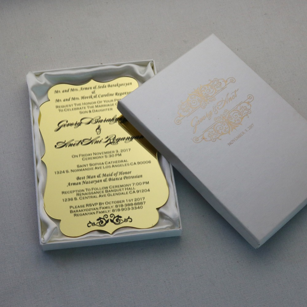 Us 315 0 50 Personalized Gold Acrylic Wedding Invitation Cards For Free Printed Party Invitations And Ivory Boxes In Cards Invitations From Home