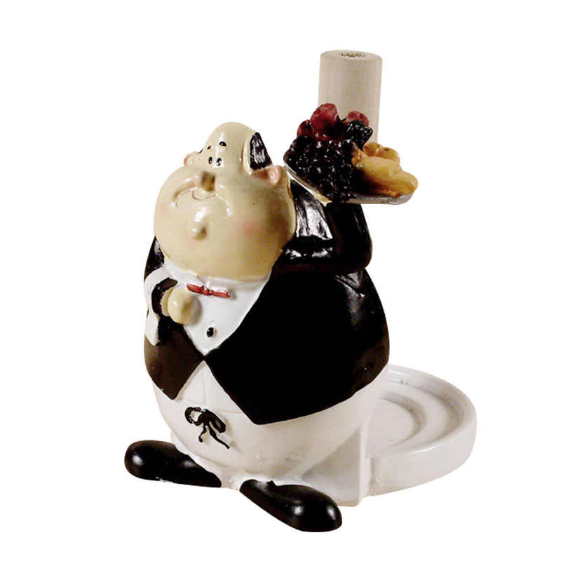 Creative Resin Chef Paper Towel Holder Figurines Ornaments Chef